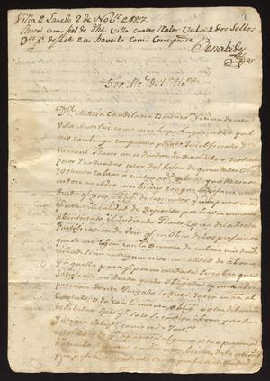 Primary view of [Messages from María Condelaria and Juan Echeandía to the Alcalde]