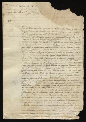 Primary view of object titled '[Announcement from José Francisco de la Garza]'.