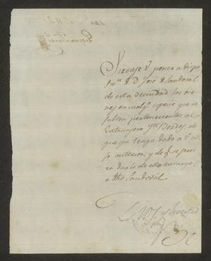 Primary view of object titled '[Letter from Gaspar Flores to the Laredo Alcalde, December 11, 1824]'.