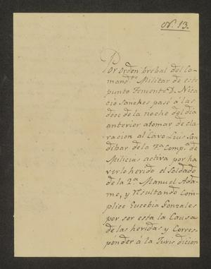 Primary view of object titled '[Notice from Francisco de Castro to the Laredo Alcalde, November 17, 1826]'.
