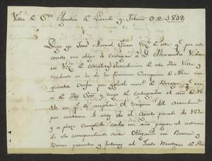 Primary view of object titled '[Promissory Note from José Manuel Flores to Alexander Vidaurri]'.