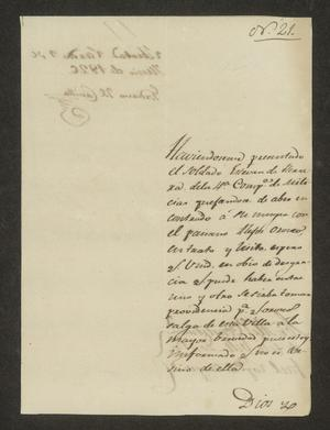 Primary view of object titled '[Letter from Gordiano del Castillo to the Laredo Alcalde, June 9, 1826]'.