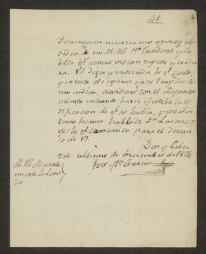Primary view of object titled '[Letter from José María García to the Laredo Ayuntamiento, December 31, 1831]'.