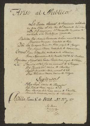 Primary view of object titled '[Announcement of Elected Legislatures]'.