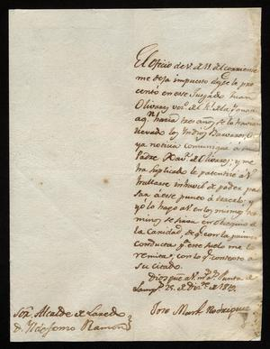 Primary view of [Letter from José Manuel Rodríguez to Ildefonso Ramón, December 29, 1819]