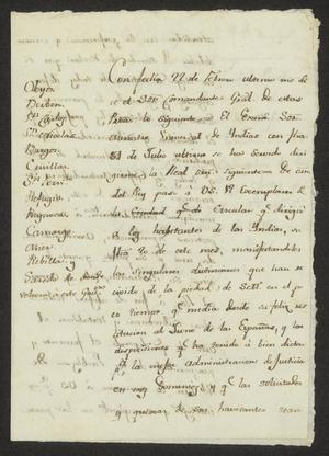 Primary view of object titled '[Message from Francisco López to Alcaldes]'.