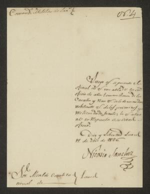 Primary view of object titled '[Letter from Nicasio Sánchez to the Alcalde of Laredo, December 19, 1826]'.