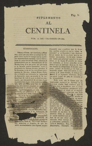 Primary view of object titled 'Suplemento al Centinela'.
