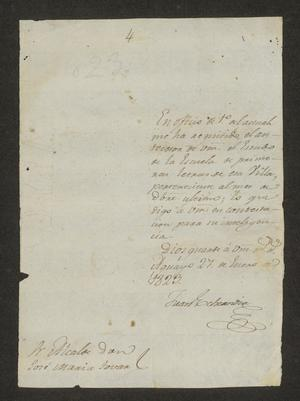 Primary view of object titled '[Two Letters from the Governor of Tamaulipas to the Laredo Alcalde, January 27, 1823]'.