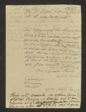 Primary view of object titled '[Letter from José Miguel García to the Laredo Alcalde, July 29, 1826]'.