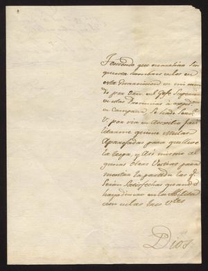 Primary view of [Message from Juan José Llanos to a Ildefonso Ramón, July 21, 1819]