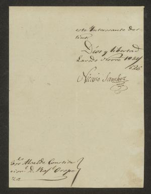 Primary view of object titled '[Note from Nicasio Sánchez to Rafael López de Oropeza, November 17, 1826]'.
