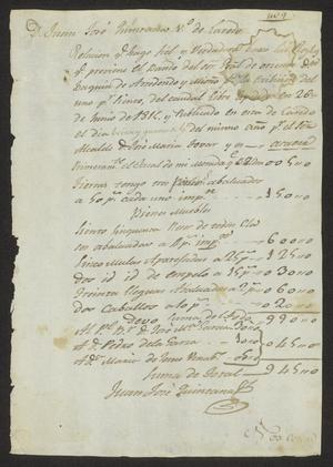 Primary view of object titled '[List of Taxed Possessions from Juan José Quintana]'.