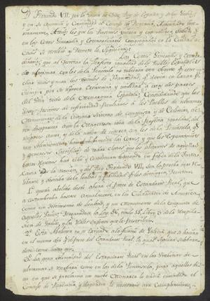 Primary view of [Document with Decrees Promulgated by the Cortes de Cádiz]