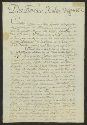 Primary view of [Copy of a Message from Viceroy Venegas]