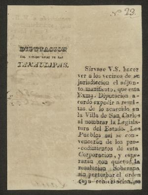 Primary view of object titled '[Printed Documents from the Diputacion de las Tamaulipas]'.