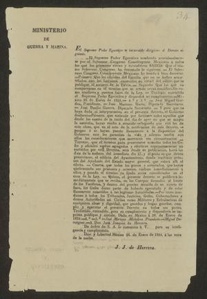 Primary view of object titled '[Printed Statement from the Minister of War]'.