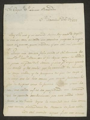 Primary view of object titled '[Letter from José Ignacio Ronquilla to José Lázaro Benavides, December 30, 1822]'.