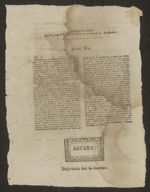 Primary view of object titled '[Printed Message from the Electors of the Province]'.
