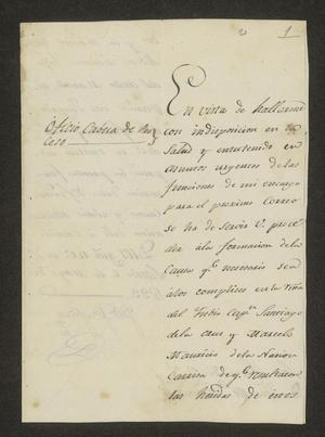 Primary view of object titled '[Letter from José María Tovar to José María González, May 6, 1823]'.