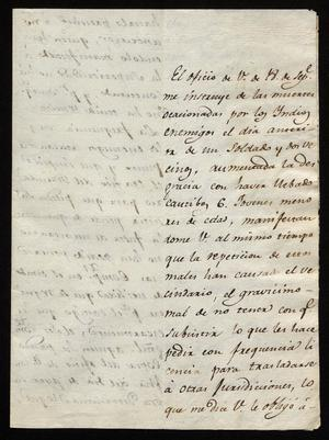 Primary view of object titled '[Letter from José María Echeagaray to a Laredo Alcalde, October 8, 1819]'.