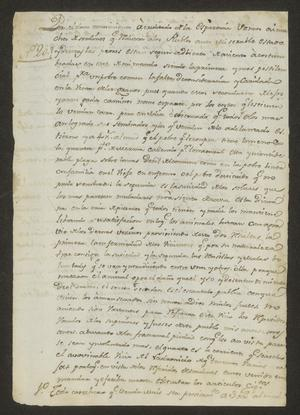 Primary view of object titled '[Message from José Andrés Farías with Ordinances]'.