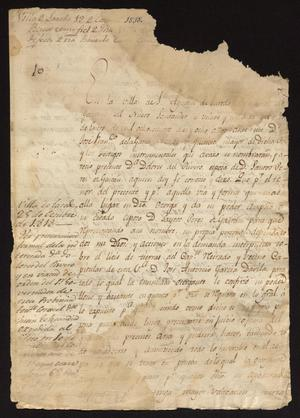 Primary view of object titled '[Message from José Francisco de la Garza]'.