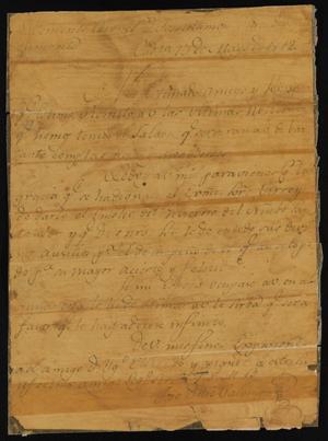 Primary view of [Letter from José Díaz Palomo to José Ramón Díaz de Bustamente, May 13, 1812]