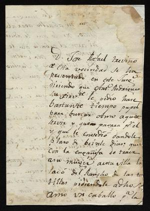 Primary view of object titled '[Message from José Antonio Benites to a Laredo Alcalde, October 16, 1818]'.