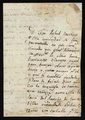 Primary view of [Message from José Antonio Benites to a Laredo Alcalde, October 16, 1818]