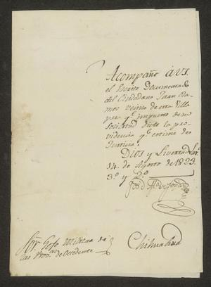 Primary view of object titled '[Letter from José María Tovar to the Jefe Militar, August 14, 1823]'.