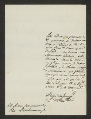 Primary view of object titled '[Letter from Felipe de la Garza to the Mayor of Laredo, September 17, 1822]'.