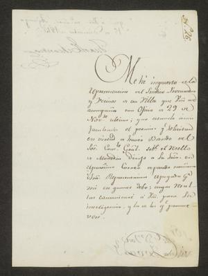 Primary view of [Message from Juan Echeandía to Alcalde Tovar in Laredo, December 15, 1815]