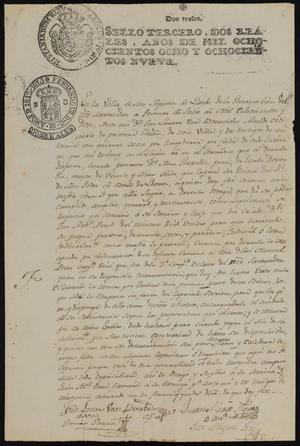 Primary view of object titled '[Announcement from José Lázaro Báez Benavides]'.