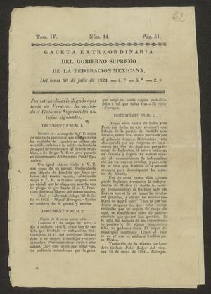Primary view of Gaceta Extraordinaria del Gobierno Supremo de la Federacion Mexicana