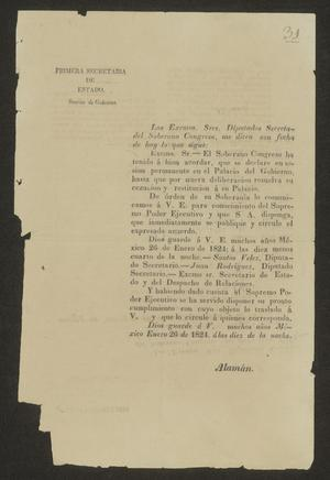 Primary view of object titled '[Printed Notice from the Mexican Secretary of State]'.