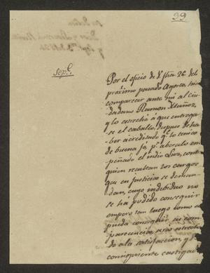 Primary view of object titled '[Letter from José Felipe de la Peña to the Laredo Alcalde, September 1, 1824]'.