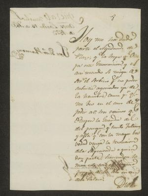 Primary view of object titled '[Letter from José Ventura Ramón to the Laredo Alcalde, April 15, 1823]'.