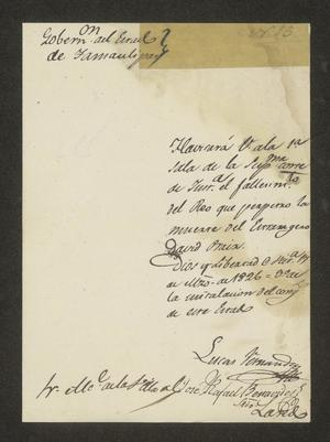 Primary view of object titled '[Letter from Lucas Fernández to the Alcalde in Laredo, March 17, 1826]'.