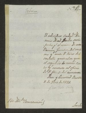 Primary view of object titled '[Letter from Felipe de la Peña to the Laredo Alcalde, February 8, 1824]'.