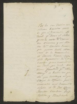 Primary view of object titled '[Letter from Florencio Villarreal to José María Tovar, October 8, 1823]'.