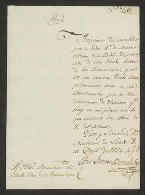 Primary view of [Message from José Lázaro Benavides to the Laredo Ayuntamiento]
