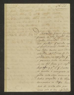 Primary view of object titled '[Letter from Juan Hinojosa to the Alcalde in Laredo, July 3, 1826]'.