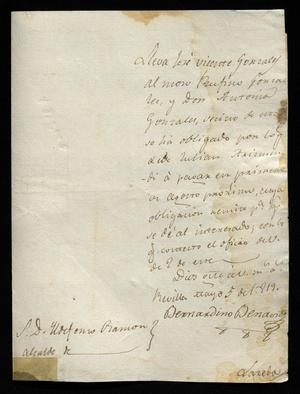 Primary view of object titled '[Letter from Bernardino Benavides to a Laredo Alcalde, May 5, 1819]'.