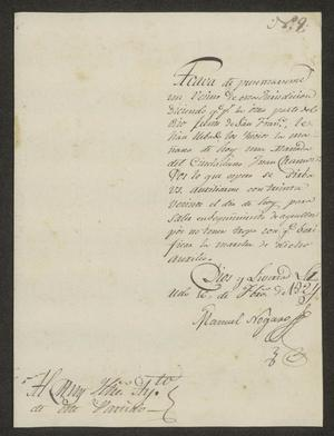 Primary view of object titled '[Letter from Manuel Nogaro to the Laredo Ayuntamiento, February 16, 1824]'.