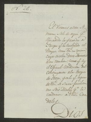 Primary view of object titled '[Request from Mariano Rodríguez to the Laredo Alcalde, October 17, 1826]'.
