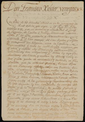 Primary view of object titled '[Copy of an Order from Viceroy Venegas]'.