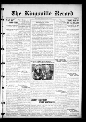 Primary view of object titled 'The Kingsville Record (Kingsville, Tex.), Vol. 22, No. 23, Ed. 1 Wednesday, January 23, 1929'.