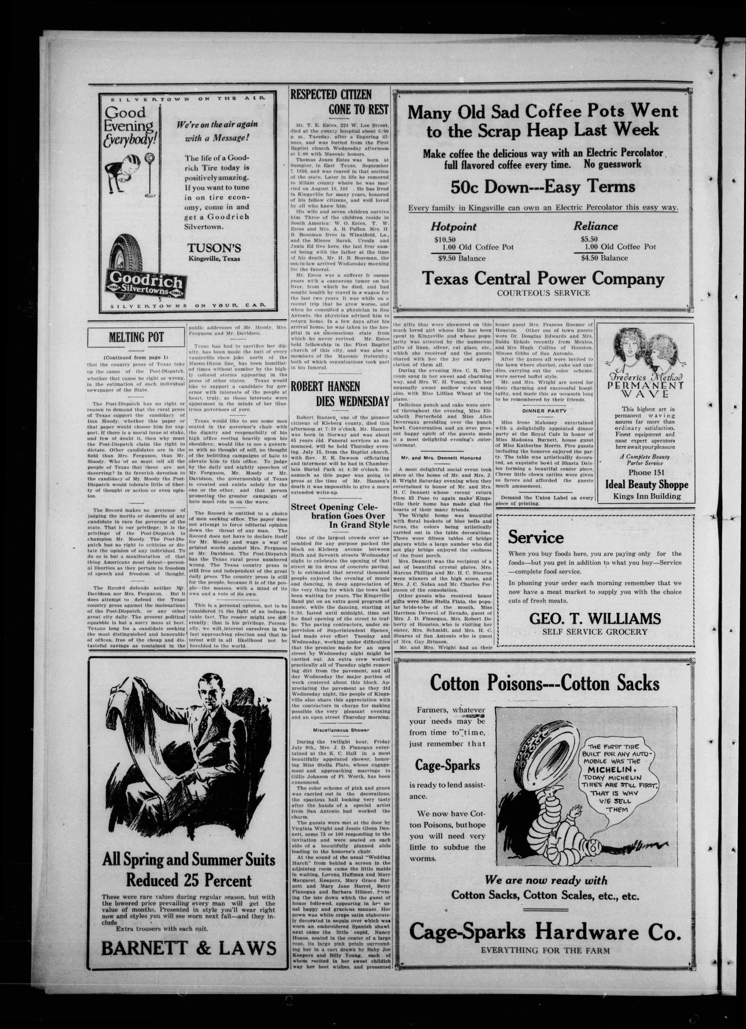 The Kingsville Record (Kingsville, Tex.), Vol. 19, No. 47, Ed. 1 Wednesday, July 14, 1926                                                                                                      [Sequence #]: 2 of 12