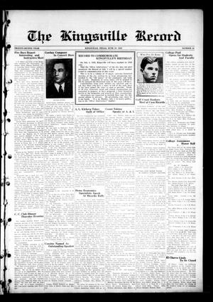 Primary view of object titled 'The Kingsville Record (Kingsville, Tex.), Vol. 22, No. 44, Ed. 1 Wednesday, June 19, 1929'.